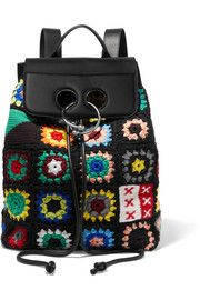 Pierce crocheted wool, cotton-canvas and leather backpack
