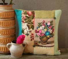 Wool pillow with cross stitch embroidery Vase with by TessePillows, Cute Cushions, Cushions To Make, Vintage Cushions, Crochet Cushions, Sewing Pillows, Wool Pillows, Recycled Blankets, Recycled Fabric, Cross Stitch Pillow