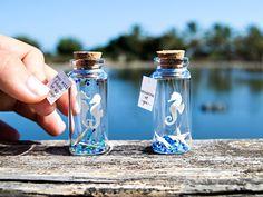 Pensando en ti. You will forever be my always. Caballitos de mar de papel. Océano. Mensaje en una botella. Miniatura. Regalo personalizado de EyMyMessage en Etsy