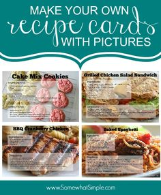 How to make your own recipe cards with pictures! SO HELPFUL!!