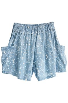 ROMWE   Five-star Printed Elasticated Wild Blue Shorts, The Latest Street Fashion