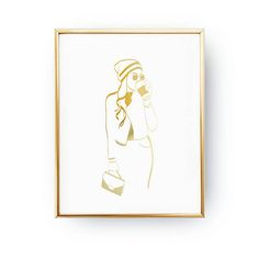 Hat & Coffee Print Wardrobe Art Bedroom Decor Real Gold