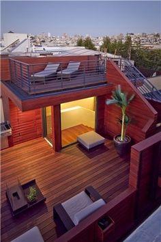 Pergola Attached To House Roof Rooftop Terrace Design, Rooftop Patio, Terrace Garden, Deck Terrace Ideas, Garden Table, Patio Ideas, House Extensions, Pergola Designs, Pergola Kits