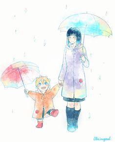Walking under the rain with Hinamom