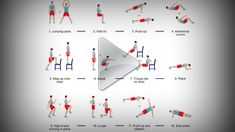 Interval training, as we've mentioned before, is one of the most efficient ways to exercise. Yesterday we shared a routine that gives you a full-body workout with 12 exercises in 7 minutes. By request, here are videos that show how to do each of … All Body Workout, Full Body Workout Routine, Workout Routines For Women, At Home Workouts, Seven Minute Workout, Loose Weight Quick, 7 Minutes, Workout Pictures, Get Moving