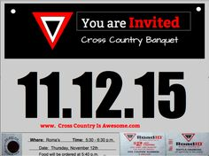 A cross Country Banquet Invitation that I created in Google Draw.  I wanted it to look like a Road ID Running Bib