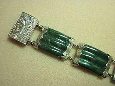 Magnificent Sterling Silver Victorian Scottish Agate Bracelet - Bloodstone