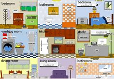 Learning the vocabulary for rooms in a house using pictures and words.