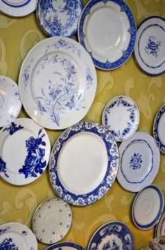 Old plates on the wall, love the plates, hate the wall!