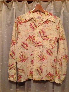 40s~50sヴィンテージアロハ ハワイアンシャツ < 男性ファッション