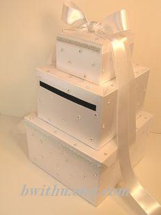 Silver Wedding Card Box Gift Card Money card Box by bwithustudio, $89.00
