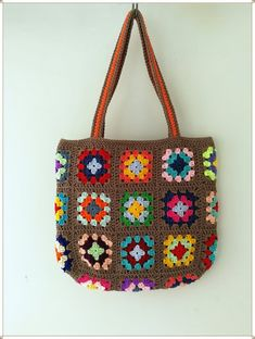 Crochet Tote, Crochet Handbags, Crochet Purses, Granny Square Bag, Hippie Bags, Handmade Scarves, Crochet Projects, Crochet Ideas, Brown Bags