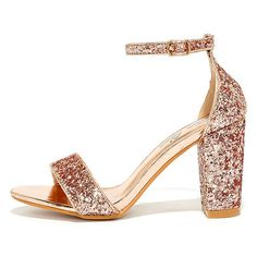 Adira Champagne Glitter Ankle Strap Heels ($37) ❤ liked on Polyvore featuring shoes, pumps, gold, champagne pumps, off white shoes, ankle strap pumps, vintage white shoes and glitter pumps