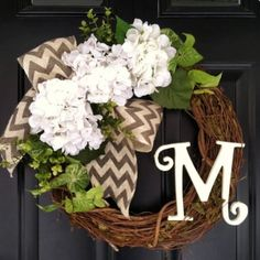 Housewarming Gifts for Newlyweds: Front Door Wreath. Or Engagement or Bridal Shower gift personalized to celebrate her new last name.