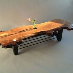 Burr Elm table with flower