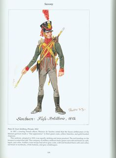 The Confederation of the Rhine - Saxony: Plate 22. Foot Artillery, Private, 1812