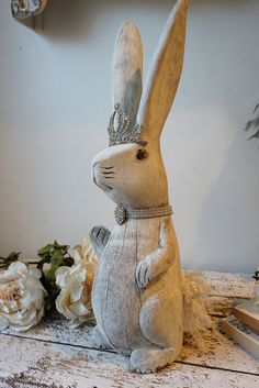 Large rabbit statue hand carved old wooden by AnitaSperoDesign