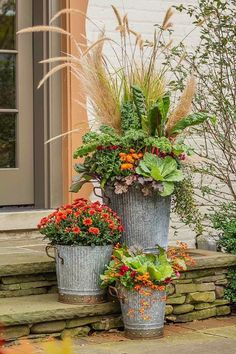 Fall Containers that Pop This trio of containers offers a mix of fall colors and textures yet doesnt overwhelm Gray galvanized metal containers and a mediumsize pot fille.