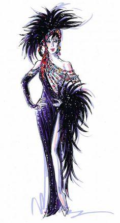 Bob Mackie - Costumier - Esquisses et Croquis - Tenues de Scène - Cher