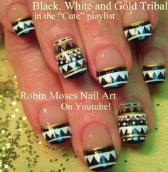 """""""tribal nails"""" """"nail art"""" """"diy nails"""" """"aztec nails"""" """"navajo nails"""" """"navajo nail art"""" """"tribal nail art"""" """"aztec nail art"""" """"black white and gold"""" """"black and white nails"""""""