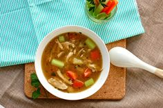Skinny Slow Cooker Chicken Noodle Soup!! This is so delicious and perfect for a chilly or rainy day #soups #slowcooker #skinnyms