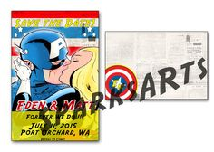 Superhero wedding Or Save the Date custom diy printable invitation. Hey, I found this really awesome Etsy listing at https://www.etsy.com/listing/191941295/captain-america-save-the-date-wedding