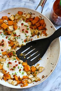 Skillet Sweet Potato Chicken Hash with Eggs – perfect for breakfast, brunch or lunch!