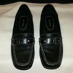 Black leather loafers. Size 7. Cute and comfortable black leather loafers. Classic style that will never go out of fashion. Excellent condition. Merona Shoes Flats & Loafers
