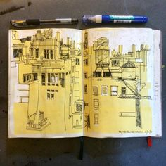 """chrisvisions: """"Close up on the view of midtown, from the SVA building. #tbt #nyc #sketchbook (at SVA MFA Fine Arts) """""""