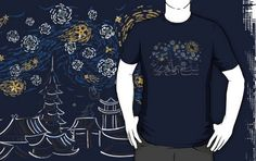 Ninja Starry Night T-Shirts A really cool design from Kent ZoneStar Geek Shirts, Christian Grey, World Of Warcraft, Ninja, Cool Designs, Geek Stuff, Tees, Mens Tops, T Shirt