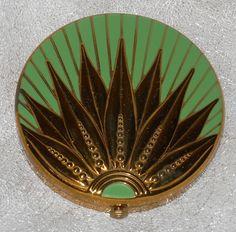 Art Deco Green Enamel Compact