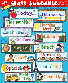 class schedule, today's schedule, schedule cards, back to school
