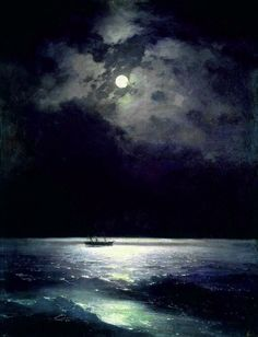Deep as the deep black sea, true as the black night, bright as the moon in the sky is my love for you ! ❤ The Black Sea at Night, Ivan Aivazovsky, 1879 Illustration Art, Illustrations, Wow Art, Black Sea, Artsy Fartsy, Amazing Art, Art Photography, Art Gallery, Images