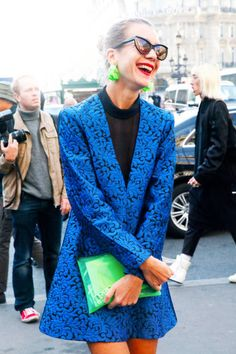 Natalie Joos laughing in Paris in bright (bright!) blue #streetstyle