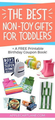 Non-Toy Gifts for Toddlers: Practical Unique and Fun A fun and unique list of non-toy gifts for toddlers PLUS a free printable birthday coupon book! The post Non-Toy Gifts for Toddlers: Practical Unique and Fun appeared first on Toddlers Diy. One Year Old Christmas Gifts, One Year Old Gift Ideas, Christmas Presents For Toddlers, Toddler Christmas Gifts, Kids Presents, Christmas Countdown, Christmas 2019, Best Toddler Gifts, Toddler Birthday Gifts