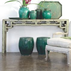 Wisteria jade colored painted Chinese/chinoiserie console