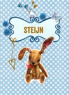 Geboortekaart vintage knuffel konijn jongen #geboortekaartje #geboortekaart #vintage #konijntje #konijn #knuffel #knuffelkonijn #oudblauw #klassiek #naamkader