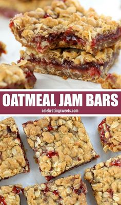 Buttery brown sugar Oatmeal Bars with a fruity jam filling. This easy recipe uses the same mixture for the crust and topping. Oatmeal Bars Healthy, No Bake Oatmeal Bars, Oatmeal Recipes, Oatmeal Cups, Oat Bars, Recipe With Oatmeal, Blueberry Oatmeal Bars, Oatmeal Squares, Baking Recipes