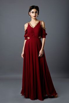 marsala cut out gown with gotta work Material: SILK GEORGETTE Dry Clean Only