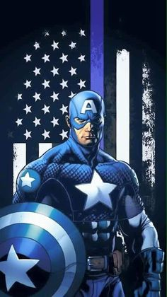 """Captain America """"United We Stand"""" law enforcement memorial - Marvel Comics … - Visit to grab an amazing super hero shirt now on sal Marvel Comics, Heros Comics, Comics Anime, Arte Dc Comics, Marvel Fan, Marvel Heroes, Marvel Avengers, Comic Book Characters, Comic Book Heroes"""