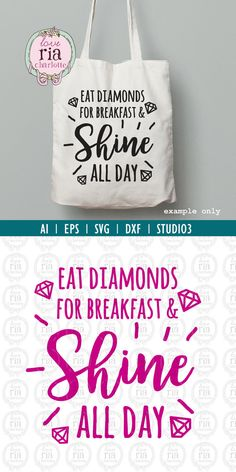 Diamanten eten voor het ontbijt & shine van alle dag offerte snijden bestanden, ai, eps, SVG, DXF, studio3 vectorbestanden voor cricut, silhouette cameo,