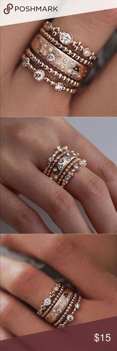 New Item✨ Stackable 5pc Gold Rhinestone Rings 😍✨ ✨ Fashion Jewelry ✨ Alloy, Gold Plated, Crystal Rhinestones  ✨ Very Shiny & Sparkly ✨ Super cute Trendy Style  🔸Brand New✨ 🔸PRICE IS FIRM- already listed at lowest price  🔸If you want to save please look into bundling  🔸No Trades NO HOLDS  🔸Will ship within 24- 48 hours Monday-Friday (Friday orders will ship on the following business day)   🚫Please -NO- Offers on items priced $10& under  🚫Serious Inquiries Only❣️  🔹Bundle one or more…