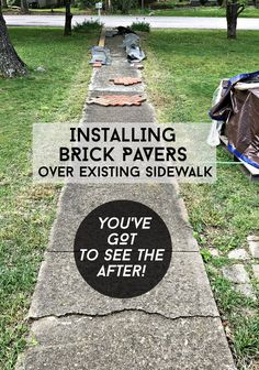 Installing Brick Pavers Over Existing Cement Sidewalk without any demo work. A great before and after of exterior curb appeal creating a new brick sidewalk. Pavers Over Concrete, Brick Pavers, Cement Driveway, Diy Driveway, Driveway Repair, Driveway Ideas, Concrete Overlay, Walkway Ideas, Concrete Steps