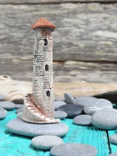 Miniature Old fairy tower with stairs - OOAK ceramic mini castle house