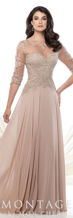 erfect Combination Dark Champagne Chiffon Half Sleeves Mother of the Bride Dresses Plus Size Lace Beaded #BrideDresses