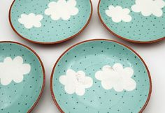 Hand Painted Cloud Ceramic Plate  Pottery Plate  di susansimonini