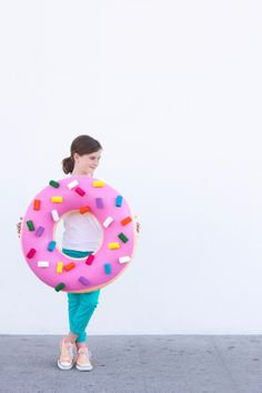 Best DIY Halloween Costume Ideas - diy-donut-costume - Do It Yourself Costumes for Women, Men, Teens, Adults and Couples. Fun, Easy, Clever, Cheap and Creative Costumes That Will Win The Contest http://diyjoy.com/best-diy-halloween-costumes