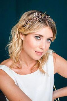 Glamouröser Haarreif, Haarkrone mit Schmuckperlen und Strass-Kristallen - Mary
