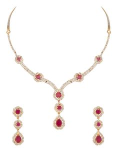 Maroon Stone Drop Style Necklace Set With Gold Plating
