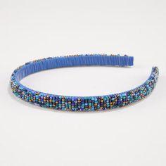 Blue and Teal Seed Bead Headband